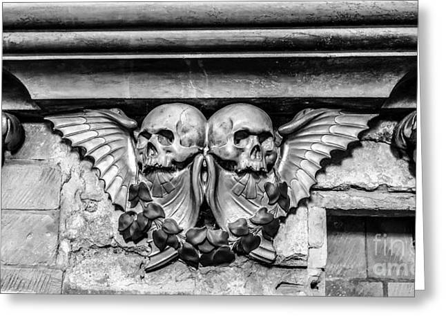 Black Wings Greeting Cards - Twin Winged Skull with Laurel Detail - Southwark Cathedral - London - England - Black and White Greeting Card by Ian Monk