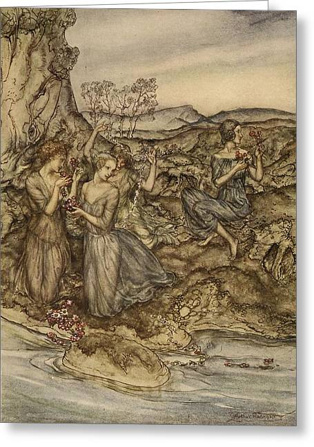 Greek Myths Greeting Cards - Twining Wreaths Of Flowers Greeting Card by Arthur Rackham