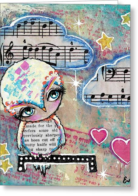 Twinkle Mixed Media Greeting Cards - Twinkle In The Sky Greeting Card by Lizzy Love of Oddball Art Co