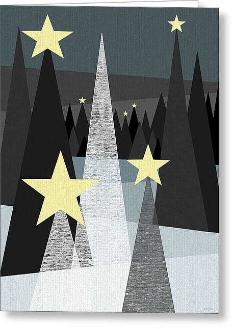 Snowy Night Night Greeting Cards - Twinkle Greeting Card by Val Arie