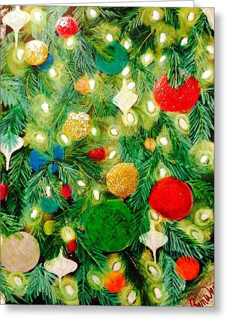 Fir Trees Pastels Greeting Cards - Twinkling Christmas Tree Greeting Card by Renee Michelle Wenker