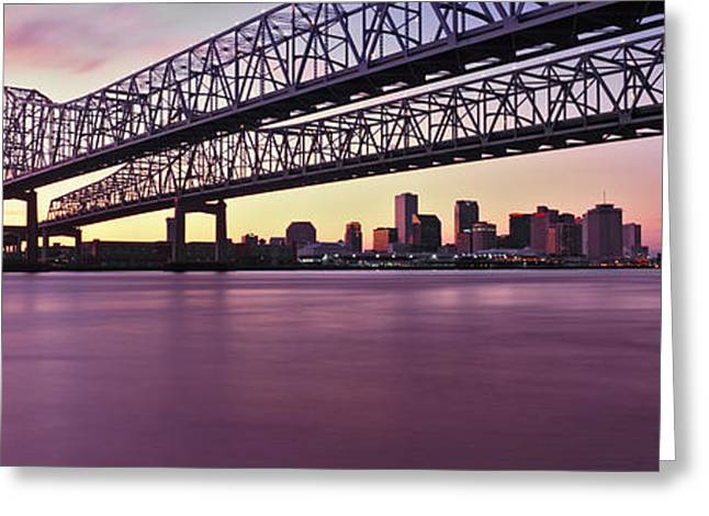 Crescent City Greeting Cards - Twins Bridge Over A River, Crescent Greeting Card by Panoramic Images