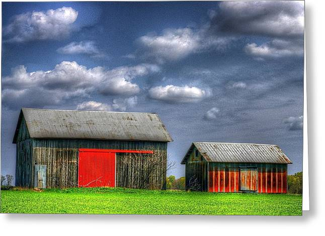 Red Roofed Barn Greeting Cards - Twins Greeting Card by Randy Pollard