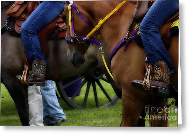 Horseback Riding Digital Art Greeting Cards - Twins Greeting Card by Steven  Digman