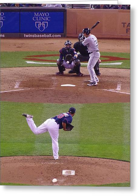 Ballpark Mixed Media Greeting Cards - Twins Vs White Sox 2 Greeting Card by Todd and candice Dailey