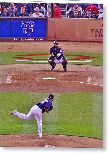 Ballpark Mixed Media Greeting Cards - Twins Warm Up Greeting Card by Todd and candice Dailey