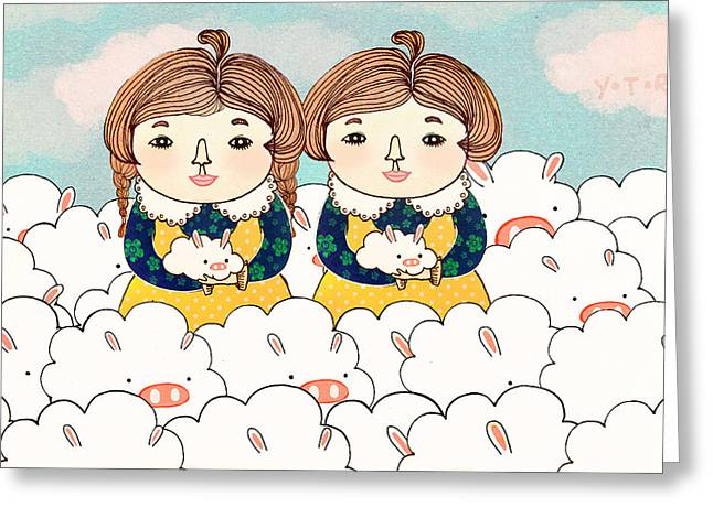 Bunny Greeting Cards - Twins Greeting Card by Yoyo Zhao
