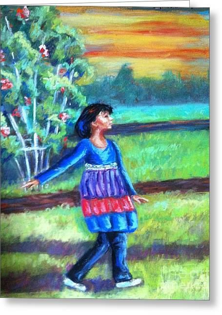 Trellis Pastels Greeting Cards - Twirl in Jeans Greeting Card by Beverly Boulet