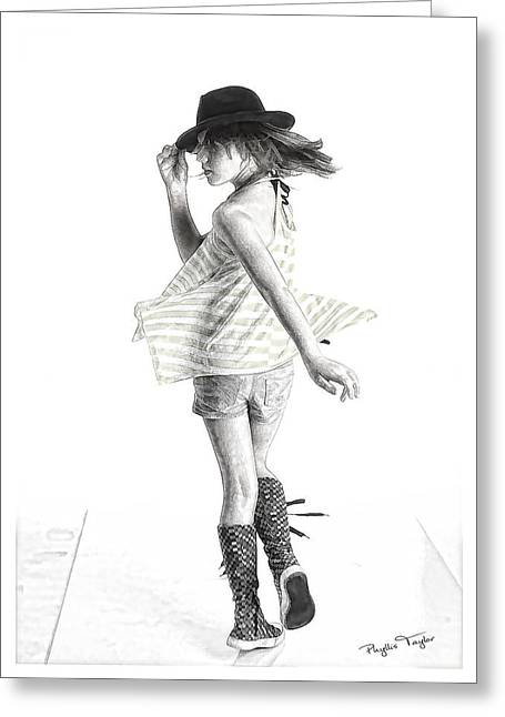 Dancing Girl Greeting Cards - Twirl Greeting Card by Phyllis Taylor