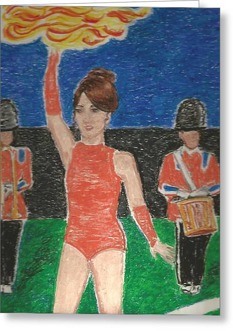Baton Pastels Greeting Cards - Twirling with Fire Greeting Card by Jami Cirotti