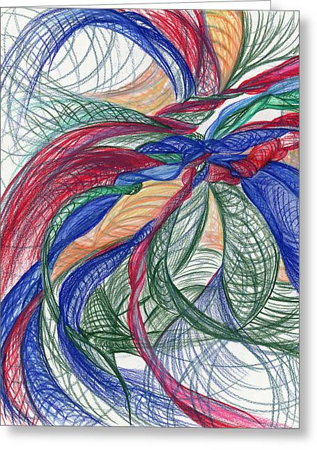 Popular Drawings Greeting Cards - Twirls and Cloth Greeting Card by Kelly K H B