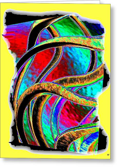 Green And Yellow Abstract Greeting Cards - Twist And Shout 3 Greeting Card by Will Borden