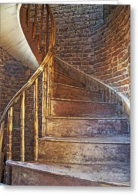 Wooden Stairs Greeting Cards - Twist and Turn Greeting Card by Cheri Randolph