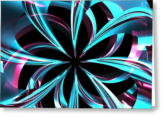Digital_art Greeting Cards - Twisted Blue Greeting Card by Louis Ferreira