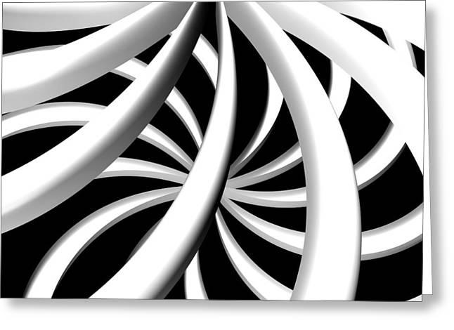 Digital_art Greeting Cards - Twisted BW Greeting Card by Louis Ferreira