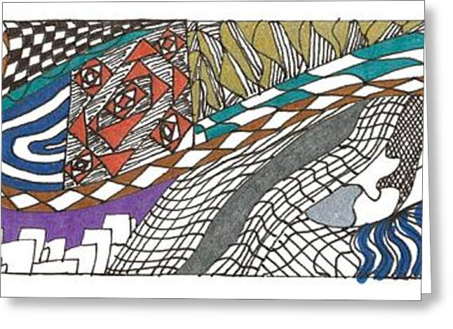 White Drawings Greeting Cards - Twisted City Greeting Card by Kendall Banks