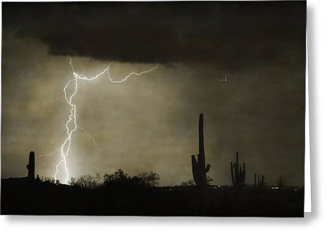 Twisted Desert Lightning Storm Greeting Card by James BO  Insogna