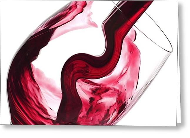 Wine-glass Greeting Cards - Twisted Flavour Red Wine Greeting Card by The Jones Collection