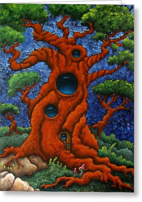 Gnarly Paintings Greeting Cards - Twisted Gnarly Tree House Greeting Card by Nhoj  Yesdnil