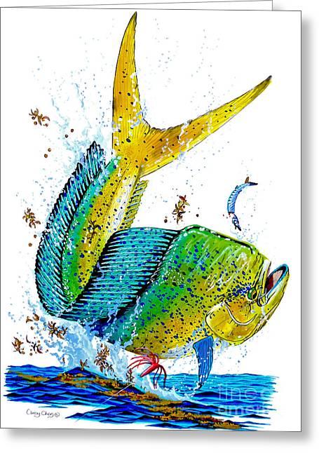 Big Eye Tuna Greeting Cards - Twisted Mahi Greeting Card by Carey Chen