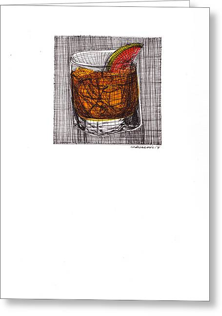 The Cocktail Hour Greeting Cards - Twisted On the Rocks Greeting Card by Andrea Cook
