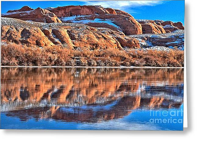 Southern Utah Greeting Cards - Twisted Red Rock Reflections Greeting Card by Adam Jewell