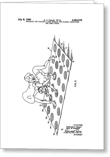 Toy Store Greeting Cards - Twister Patent Drawing Greeting Card by Dan Sproul