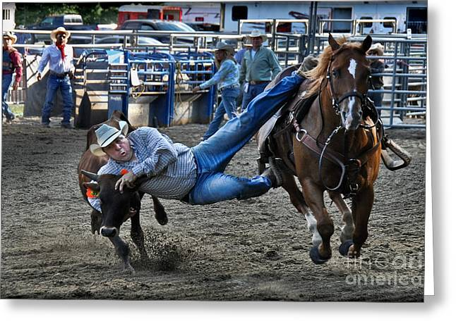 Rodeo Greeting Cards - Twisting Horns Greeting Card by Gary Keesler