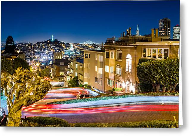 Dave Gordon Greeting Cards - Twists and Turns in San Franciscos Lombard Street Greeting Card by Dave Gordon