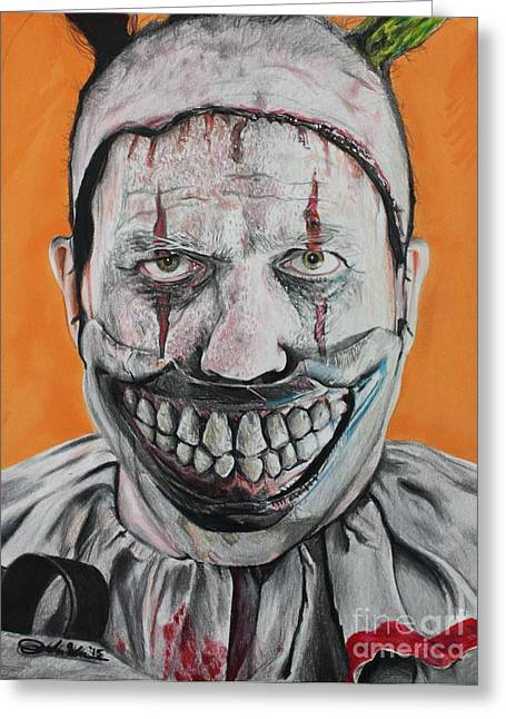 Scary Clown Greeting Cards - Twisty Greeting Card by Joshua Navarra