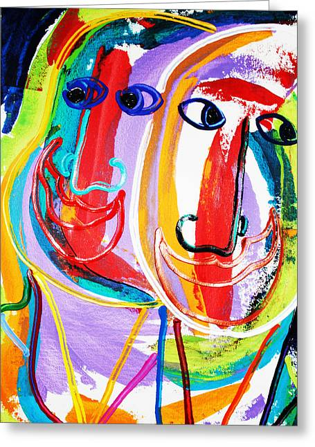 Two Abstract Faces Greeting Card by Matthew Brzostoski