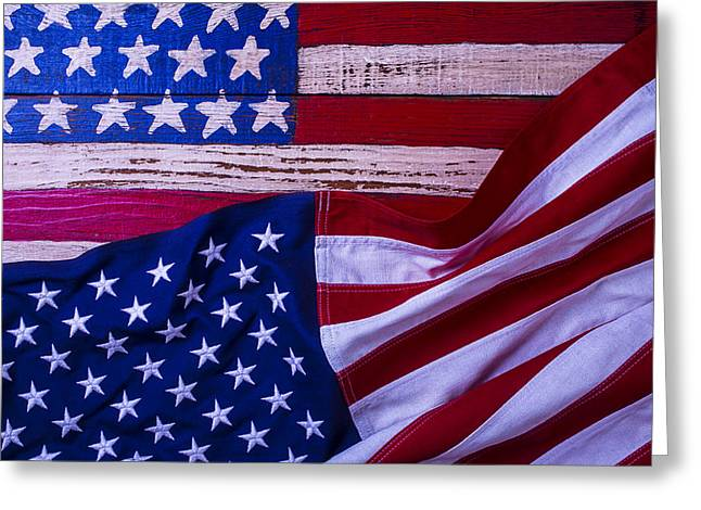 Nationalists Greeting Cards - Two American Flags Greeting Card by Garry Gay