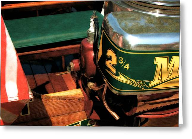 Marine Green Greeting Cards - Two and Three Quarters HP Muncie Outboard Motor Greeting Card by Michelle Calkins