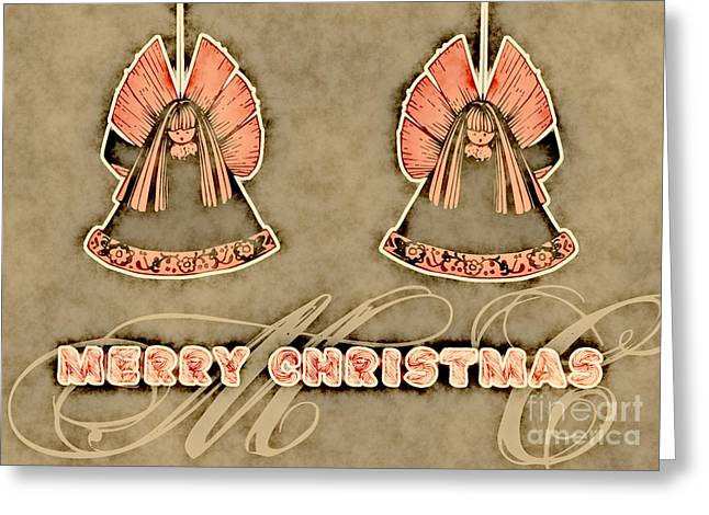 Cards Vintage Greeting Cards - Two Angels Vintage - Merry Christmas Card Greeting Card by Aimelle