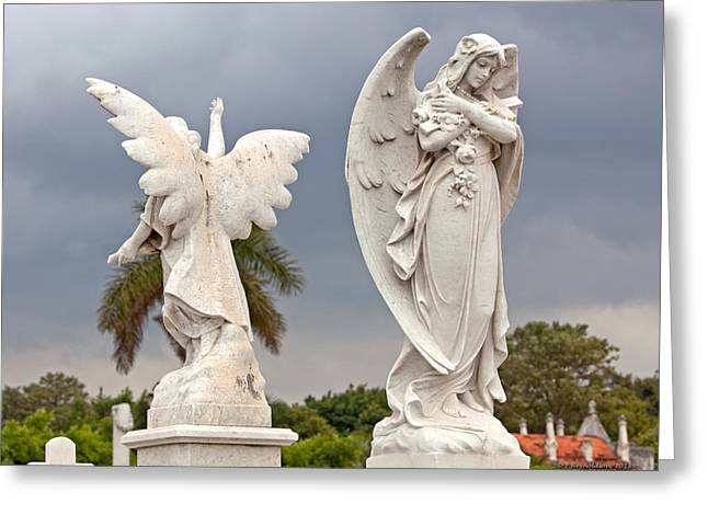 Faith Photographs Greeting Cards - Two Angels With Cross Greeting Card by Terry Reynoldson