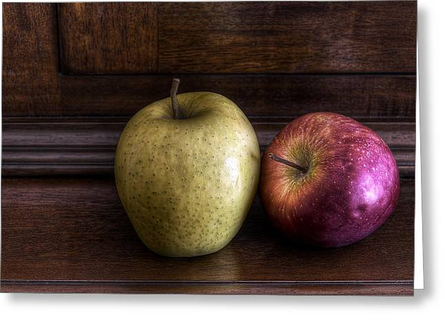 Print On Canvas Photographs Greeting Cards - Two Apples Greeting Card by Leonardo Marangi