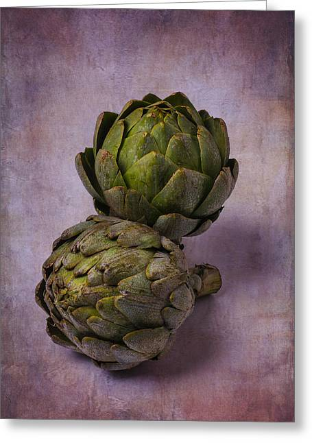 Two Artichokes Greeting Card by Garry Gay