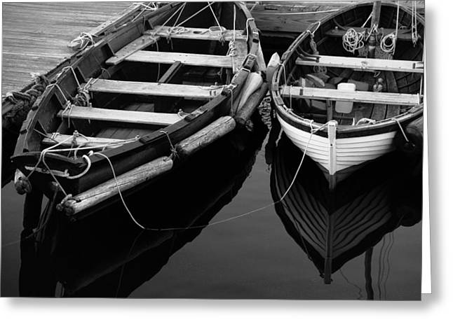 Boats In Harbor Greeting Cards - Two At Dock Greeting Card by Karol  Livote