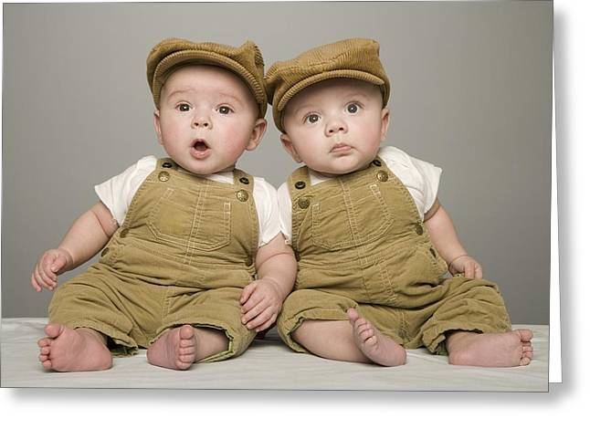 Caucasian Appearance Greeting Cards - Two Babies In Matching Hat And Overalls Greeting Card by Kelly Redinger