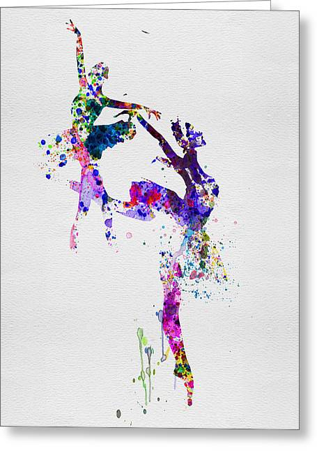 Ballet Art Greeting Cards - Two Ballerinas Dance Watercolor Greeting Card by Naxart Studio