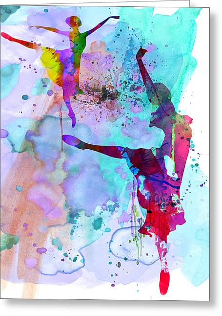 Two Ballerinas Watercolor 4 Greeting Card by Naxart Studio
