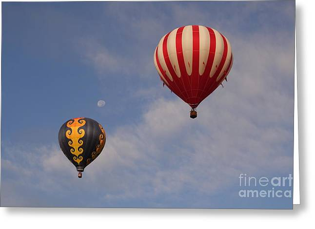 Balloon Pyrography Greeting Cards - Two balloons and the moon. Greeting Card by Cindy Daly