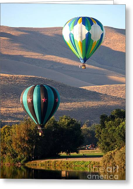 Two Balloons In Morning Sunshine Greeting Card by Carol Groenen