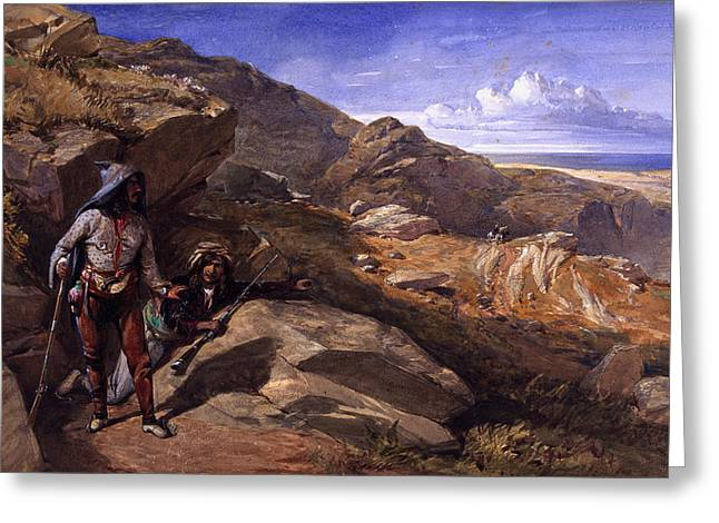 Ambush Greeting Cards - Two Bandits In The Hills, 1857 Greeting Card by William