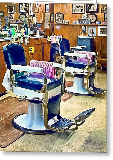 Barberchair Greeting Cards - Two Barber Chairs With Pink Striped Barber Capes Greeting Card by Susan Savad