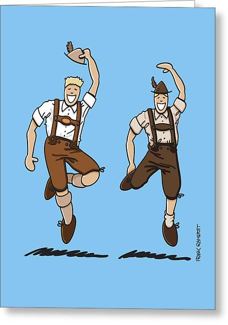 Two Bavarian Lederhosen Men Greeting Card by Frank Ramspott