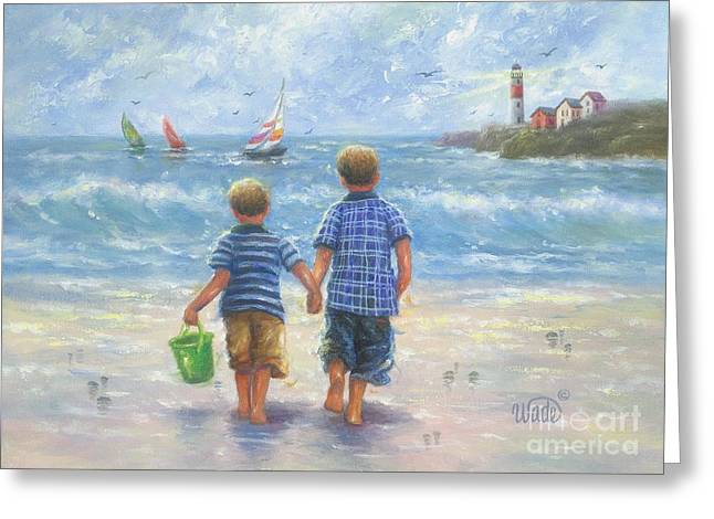 Vickie Wade Paintings Greeting Cards - Two Beach Boys Walking Greeting Card by Vickie Wade