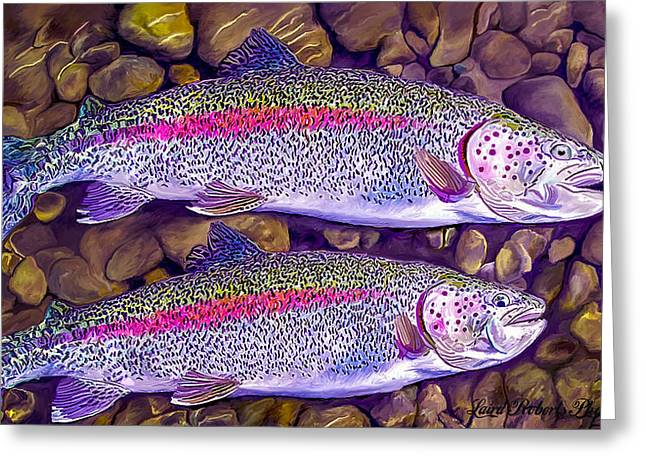 Rainbow Trout Greeting Cards - Two Beauties - Trout Greeting Card by Laird Roberts