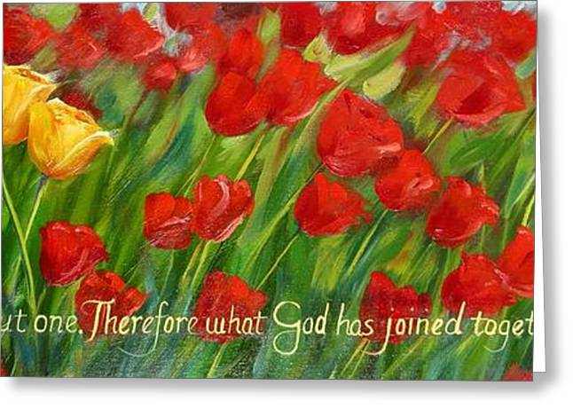 Bible Paintings Greeting Cards - Two Become One Greeting Card by Connie Andrews