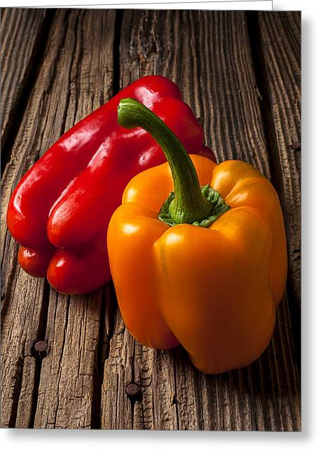 Capsicum Greeting Cards - Two Bell Peppers Greeting Card by Garry Gay